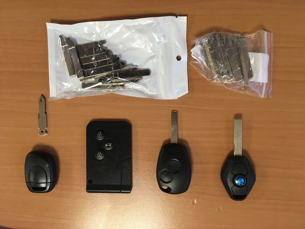 différentes clés pour Bmw, Clio 2, Scenic Megane etc